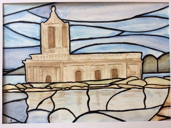 DECEMBER 2020 - Normanton Church, Rutland Water, watercolour by Janet Bilby