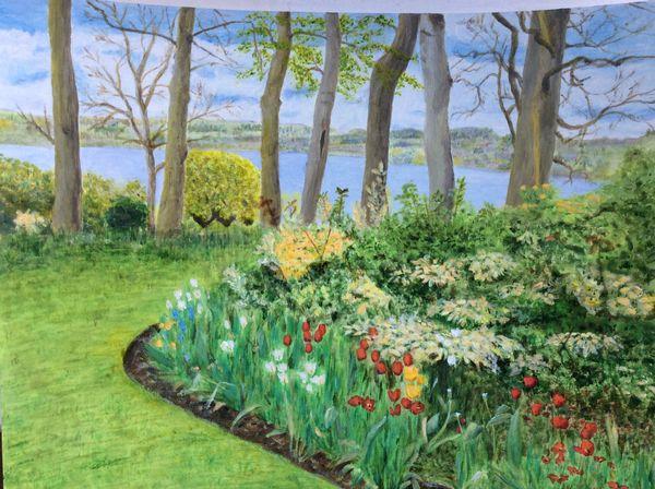 APRIL 2020 - Hambleton Village Garden, acrylic by Liz Allison