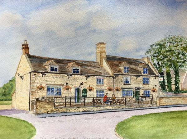 JUNE 2020 - The Exeter Arms, Barrowden, Rutland, watercolour by Wendy Munroe