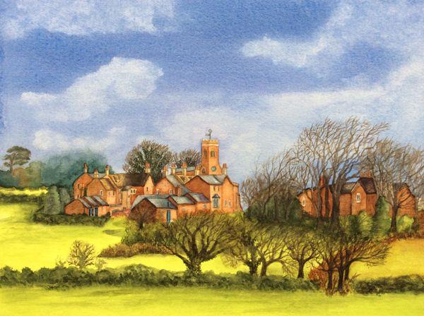 FEBRUARY 2020 - Stoke Dry village, watercolour by Carol Kirton