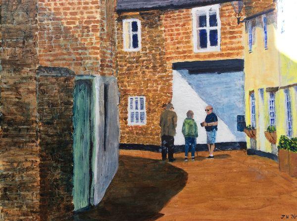 AUGUST 2020 - Conversation in Dean Street, Oakham, acrylic by John Norfolk