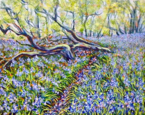 APRIL Bluebells Rutland Water. Acrylic by Carolyn Siddall