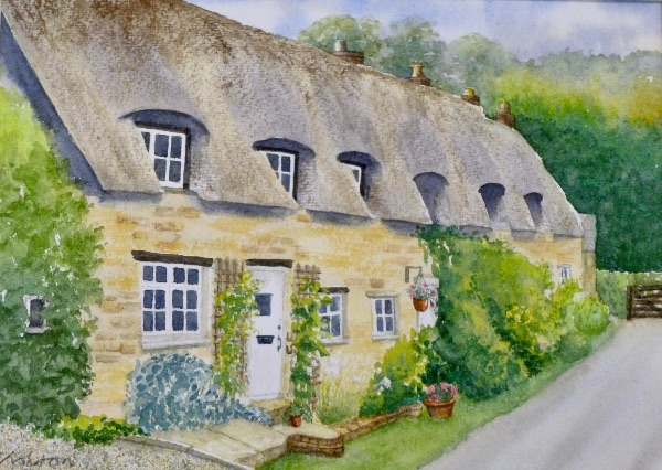 AUGUST Pudding Bag Lane, Exton. Watercolour by Carol Kirton
