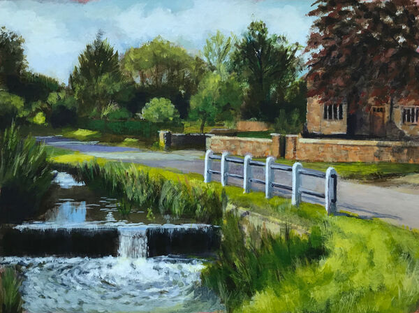 FRONT COVER - Braunston Weir by Keith Aldridge. Acrylic