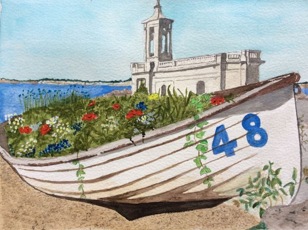 MAY 2020 - Flower Filled Boat by Rutland Water, watercolour by Barbara Bath