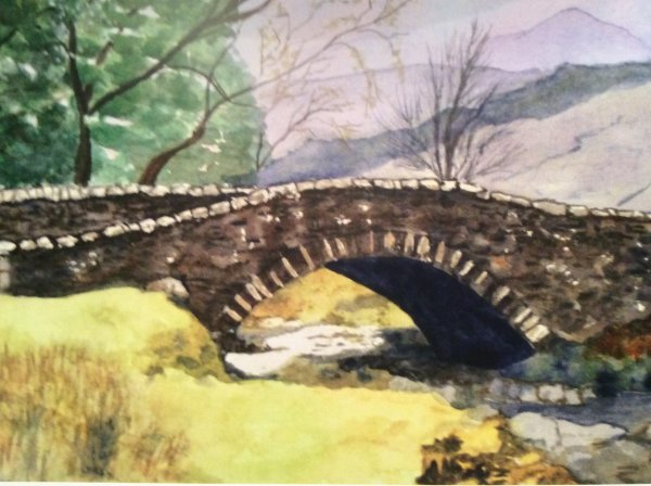 DECEMBER Stone Bridge. Watercolour by Barbara Bath