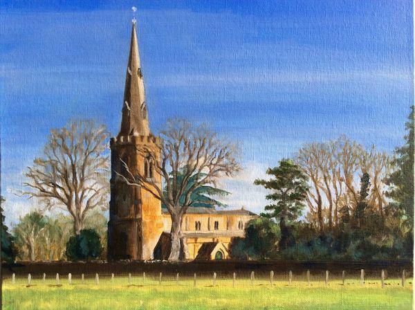 NOVEMBER 2020 - St.Peter and St.Paul's, Preston, Rutland, oil by Keith Aldridge