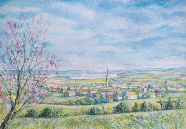 13. View of Oakham from Mill Hill (JANUARY 2022). Natallia Kuzmiankova. Watercolour