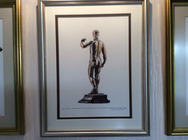 "Watercolour of a sculpture in limewood 18"" high of Julius Caesar, on a walnut base, by Giambologna (Giovanni of Boulogne in Flanders) circa 1551, a Medici court sculptor in Rome"