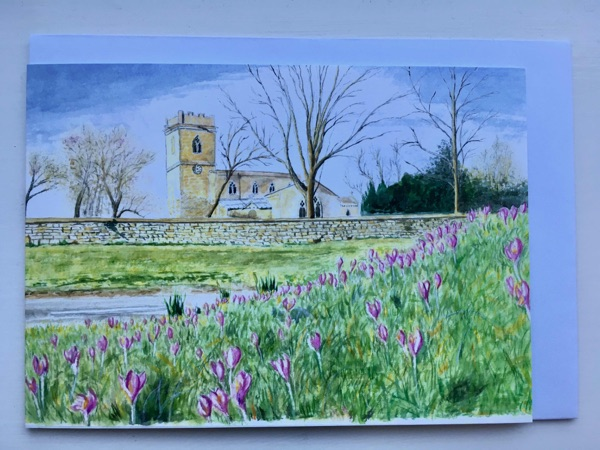 Crocuses by Market Overton church