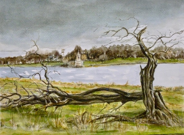 JANUARY Normanton Church from Hambleton Peninsular. Watercolour by Janine Atkins