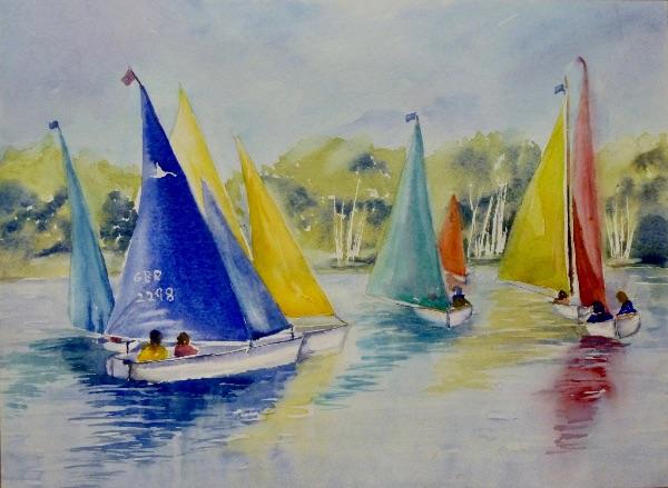 JULY Colourful Sails. Watercolour by Theresa Dewar