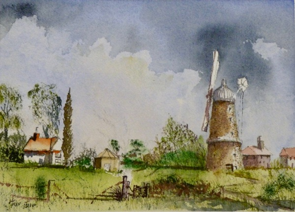 MAY Whissendine Mill. Watercolour by Trevor Brown