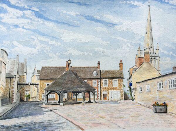 3. Summer scene in Oakham around the Buttercross. Bruce Allison. Watercolour