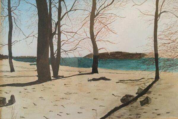 8. Winter Shoreline, Rutland Water (DECEMBER). Barbara Bath. Watercolour