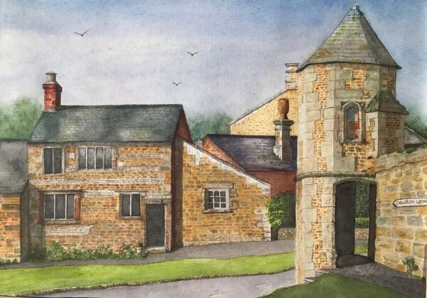 JULY 2021 - The Watchtower at Lyddington by Carol Kirton. Watercolour