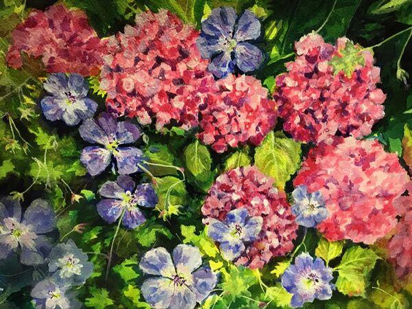 16. Langham summer border (AUGUST). Carolyn Siddall. Acrylic