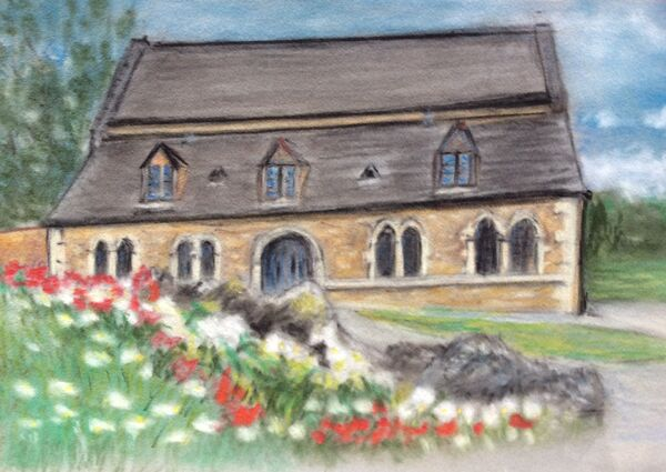 11. Oakham Castle with Spring Flowers. Colin Bath. Pastel