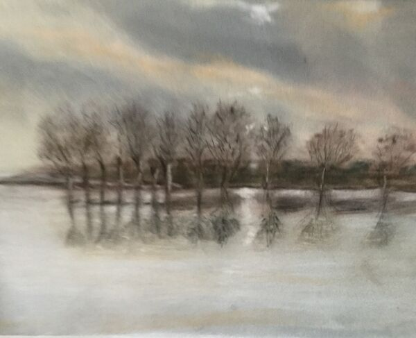 10. Rutland Water Autumn Reflections (NOVEMBER). Colin Bath. Pastel