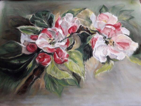 22. Apple Blossom near Ashwell. Janet Rogers. Pastel