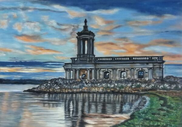 MAY 2021 - Normanton Church at sunset by Janet Rogers. Pastel