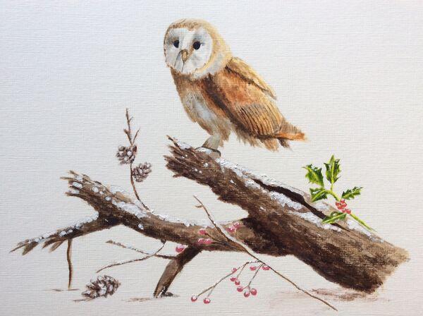 4. Barn Owl in winter near Egleton. Liz Allison. Acrylic