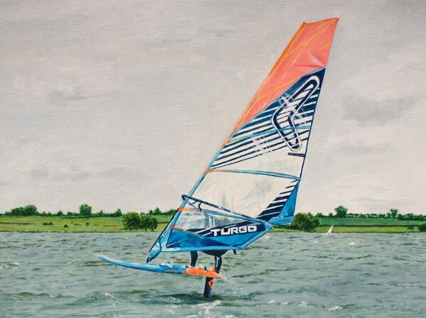 5. Windsurfer on Rutland Water (SEPTEMBER). Liz Allison. Acrylic