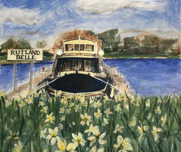 The Rutland Belle moored at Whitwell in the spring
