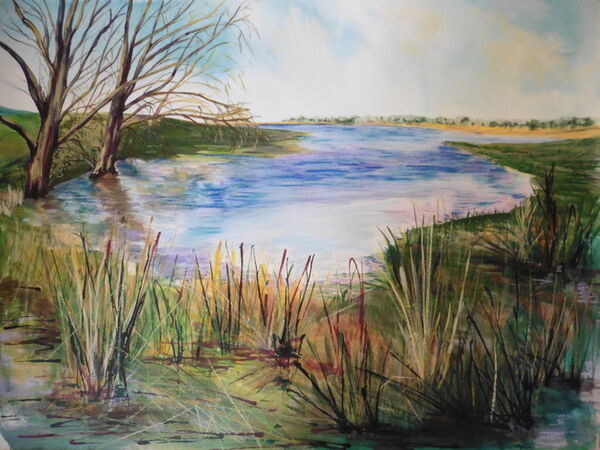 FEBRUARY 2021 - A View from Hambleton Peninsular by Nicola Devas. Watercolour and Pastel