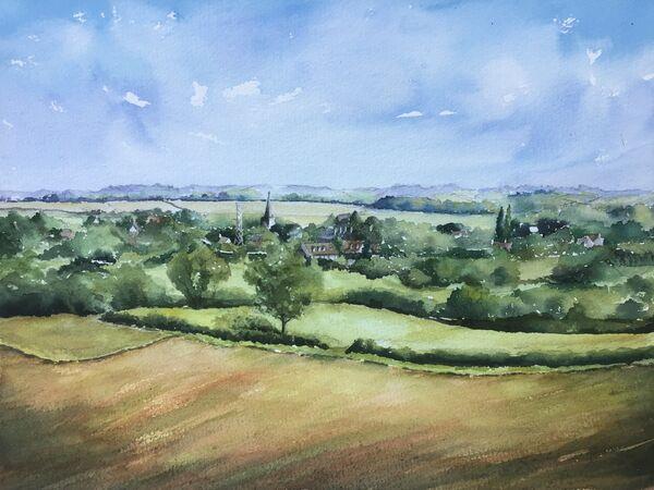 APRIL 2021 - Hilltop View of Langham Village by Theresa Dewar. Watercolour
