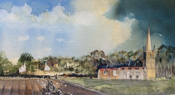 OCTOBER 2021 - Egleton Church by Trevor Brown. Watercolour and Gesso
