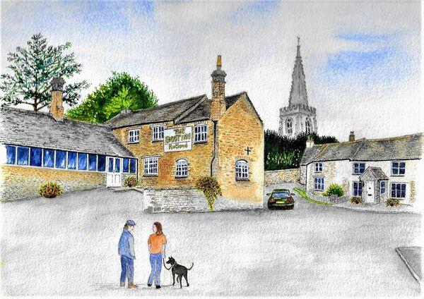 19. South Luffenham Village Centre with The Boot Inn. Wendy Munro. Watercolour