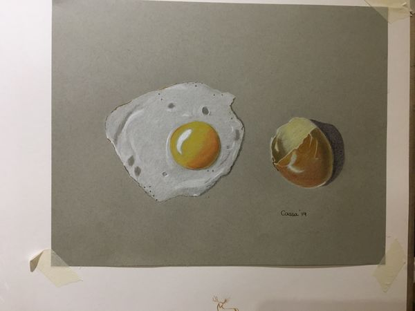 Fried egg and its shell