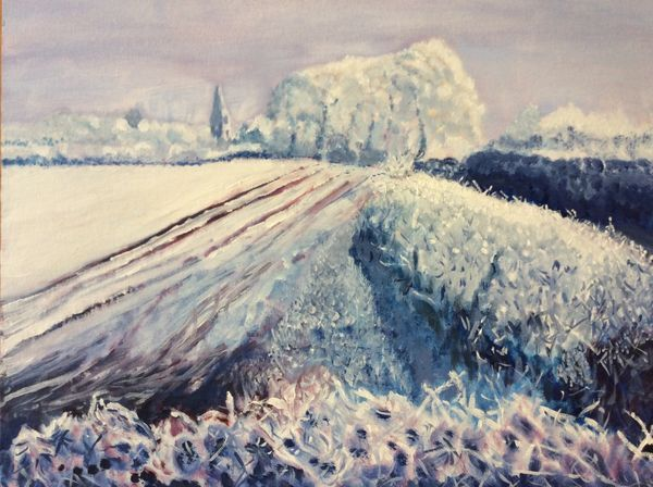 JANUARY 2020 - Hoar Frost on the Road to Greetham, oils by Merete Williams