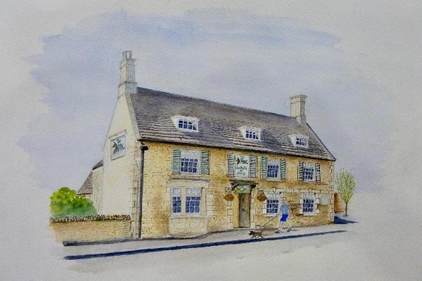 OCTOBER The Fox, North Luffenham. Watercolour by Wendy Munro