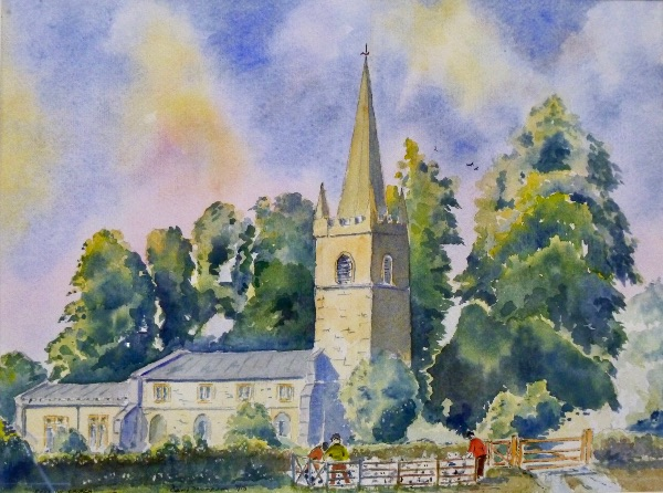 SEPTEMBER Egleton Church. Watercolour  by David Thompson