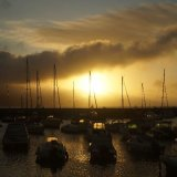 Boats moored at sunrise, Lyme Regis