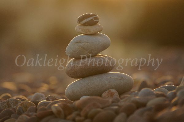 sunset pebble stack