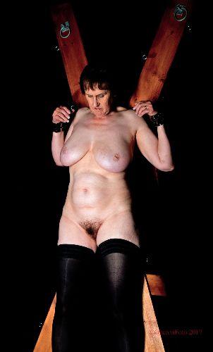 Allison - Naked on the St Andrew's Cross