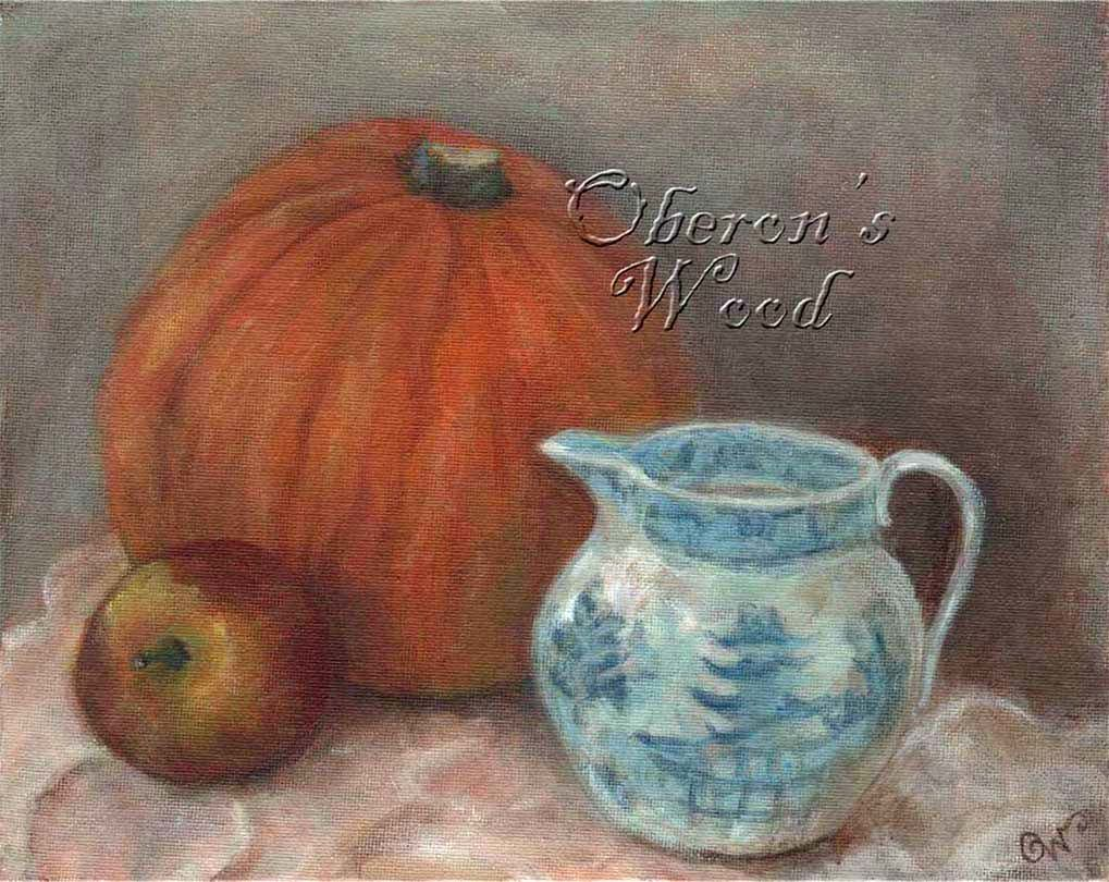 'Pumpkin & Little Blue Jug'