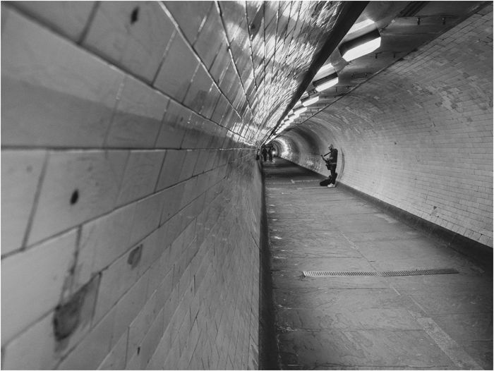 Busking in the Greenwich Foot Tunnel