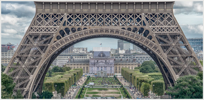 Looking through Eiffel Tower lower section