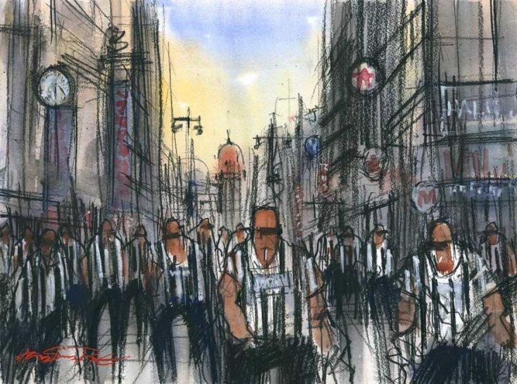 Magpies on Northumberland Street