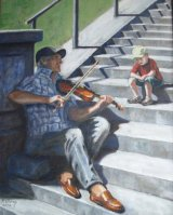 On the steps of the Sacre Coeur, the old fiddler