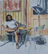 Texting outside the Cafe                       (this work for sale £35)