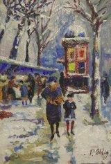 Paris street scene, winter 1