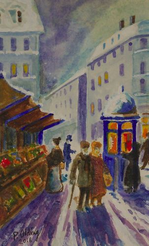 Paris street scene, winter market