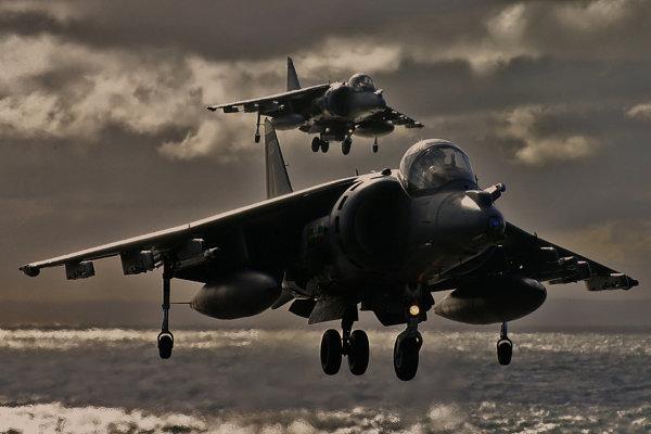 Hovering Harrier pair