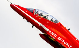 Red Arrows climbing skywards