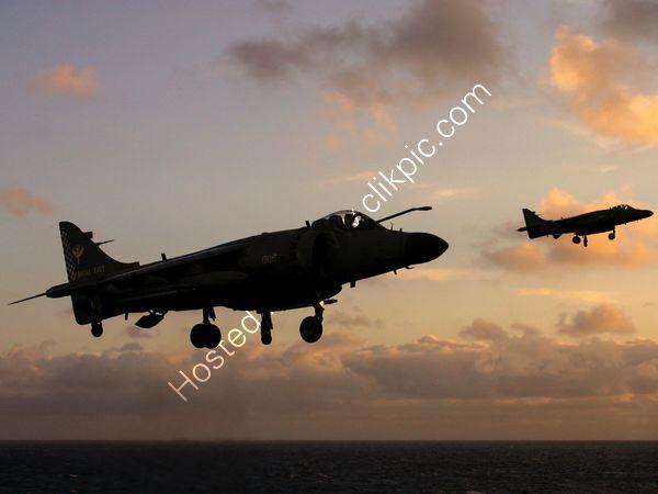 Sea Harrier pair hovering